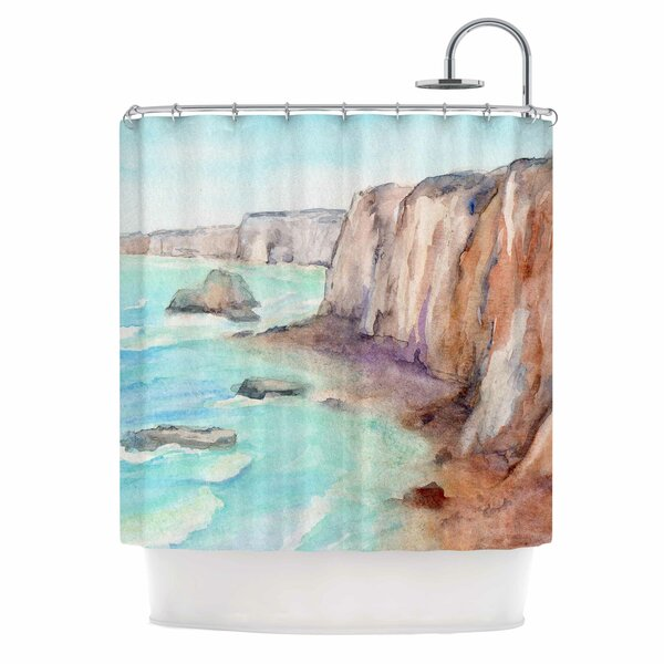Cyndi Steen Cliffs At Normandie Shower Curtain by East Urban Home