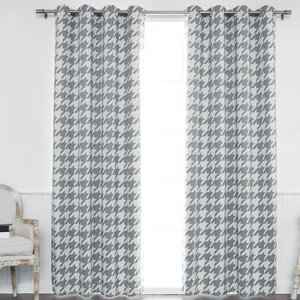 Meagan Houndstooth Printed Room Darkening Geometric Semi-Sheer Thermal Grommet Curtain Panel (Set of 2)