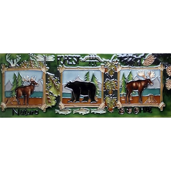 2 Moose One Bear Tile Wall Decor by Continental Art Center