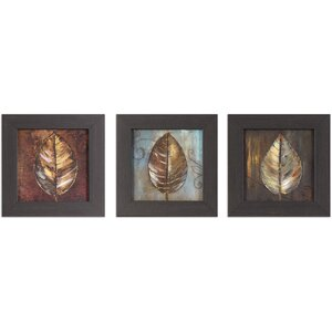 Painted Leaves 3 Piece Framed Graphic Art Set by Red Barrel Studio