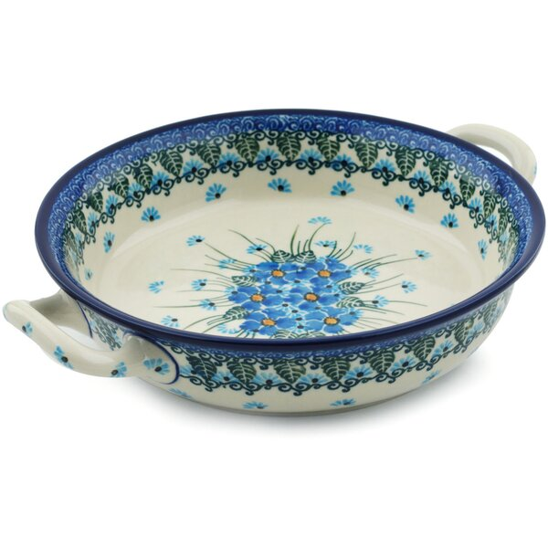 Forget Me Not Round Non-Stick Polish Pottery Baker with Handles by Polmedia