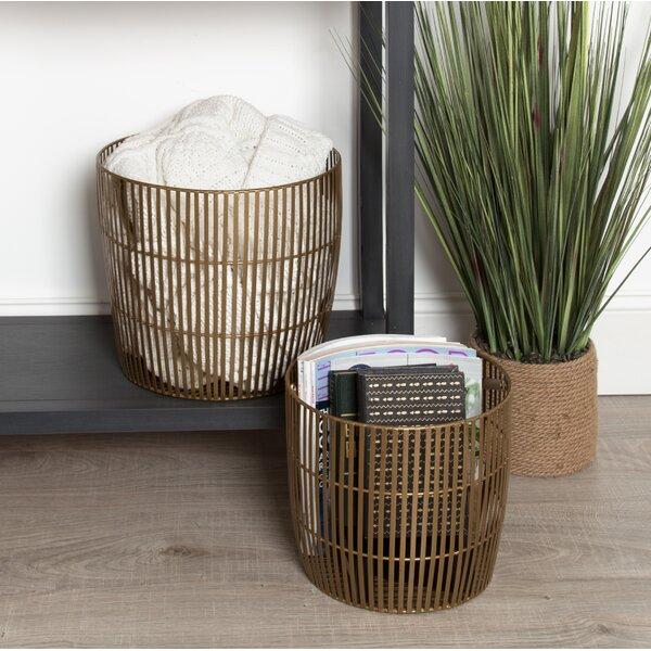 Madison Nesting Basket 2-Piece Iron Pot Planter Set by George Oliver