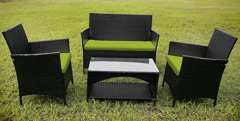 merax garden furniture 4 piece sofa set with cushions wayfair - Garden Funiture Set