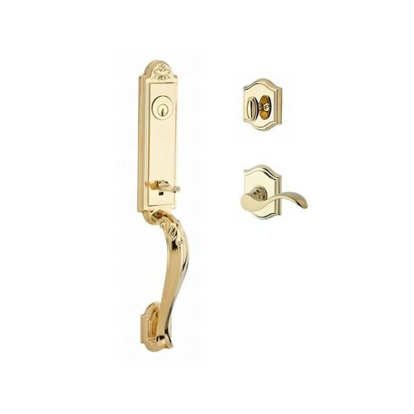 Elizabeth Single Cylinder Handleset with Curve Door Lever and Traditional Arch Rose by Baldwin