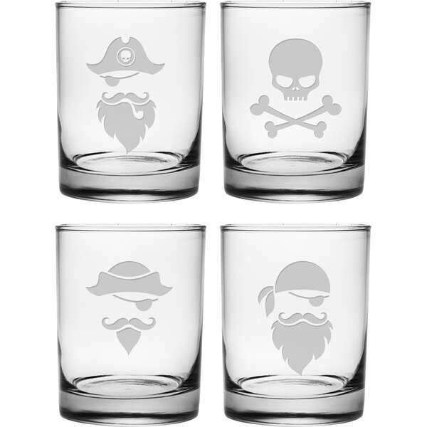 Pirate Faces 14 Oz. Rocks Glass Set (Set of 4) by Susquehanna Glass