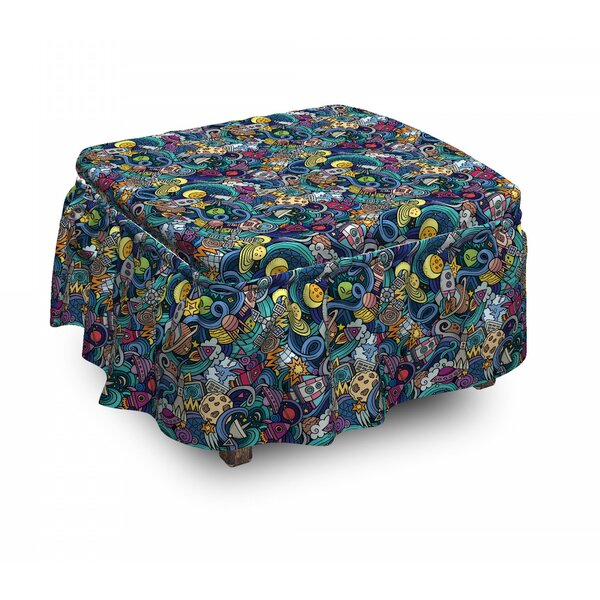 Space Science Fiction Image 2 Piece Box Cushion Ottoman Slipcover Set By East Urban Home