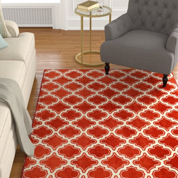 Latimer Red Area Rug by Alcott Hill