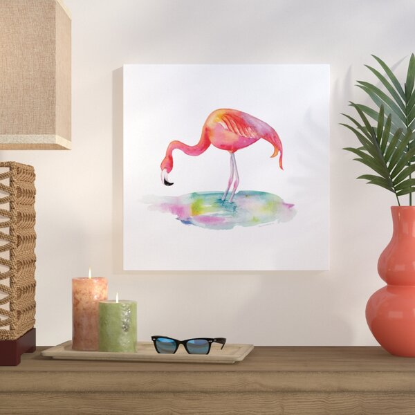 Flamingo Dip Painting Print on Wrapped Canvas by Bay Isle Home