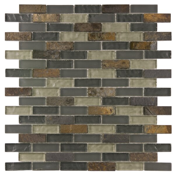 Sierra 0.58 x 1.88 Glass and Natural Stone Mosaic Tile in Brown/Gray by EliteTile