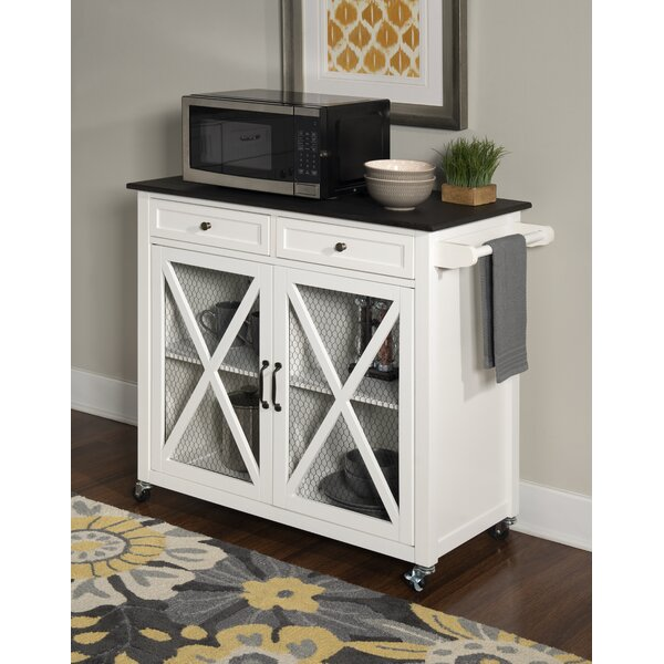 Gemma Two Door Kitchen Cart with Granite Top by Gracie Oaks