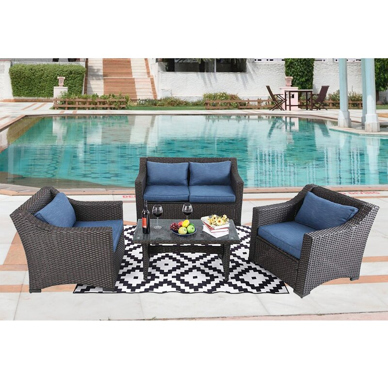 Northampt Outdoor 4 Piece Rattan Sofa Seating Group with Cushions