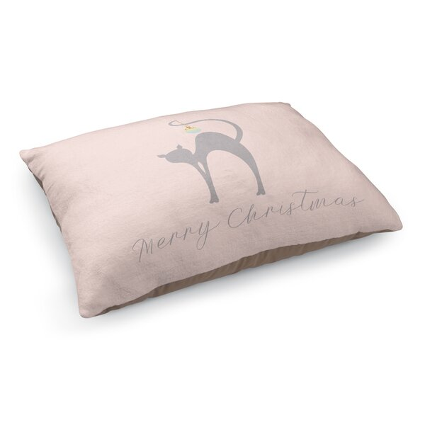 Meowy Christmas Cat Pet Bed Pillow by KAVKA DESIGNS