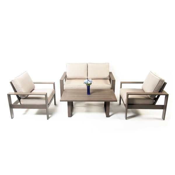 Risco Charbonnet 4 Piece Sofa Seating Group with Cushions by Latitude Run