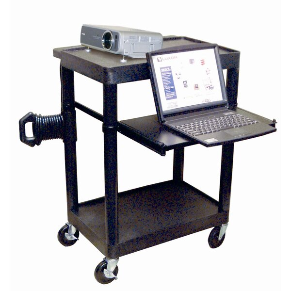 Sit Down Laptop/Overhead Workstation AV Cart by Luxor