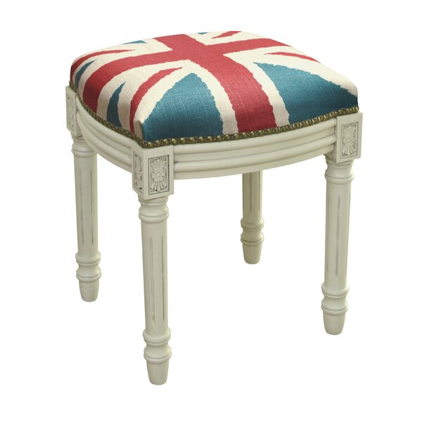 Britannia Linen Upholstered Vanity Stool with Nailhead by 123 Creations