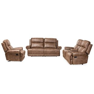 Roxana 3 Piece Faux Leather Reclining Living Room Set by Darby Home Co