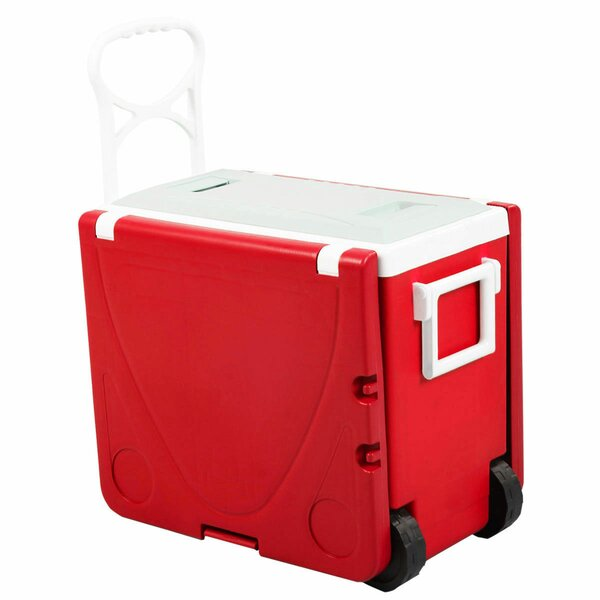 28 Can Rolling Picnic Camping Cooler by Costway