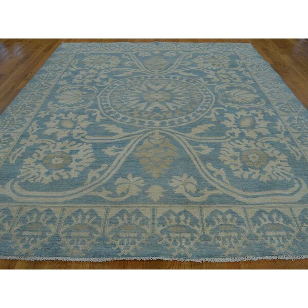 One-of-a-Kind Belsay Washed Out Classic Design Handwoven Blue Wool Area Rug by Isabelline