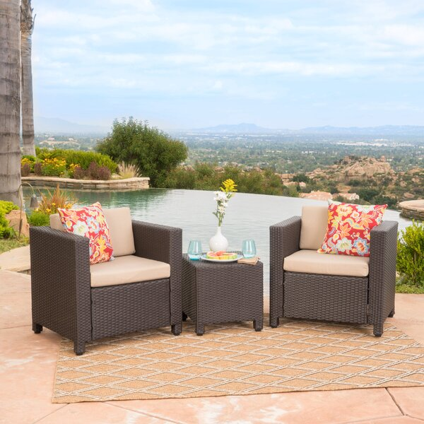 Furst 3 Piece Seating Group with Cushions by Wade Logan