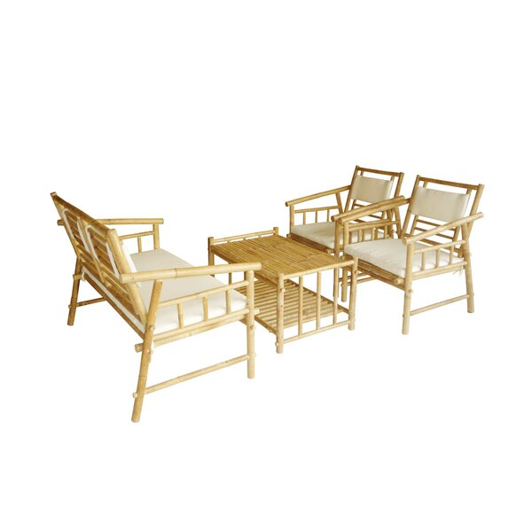 Bamboo 4 Piece Sofa Set with Cushions by ZEW Inc