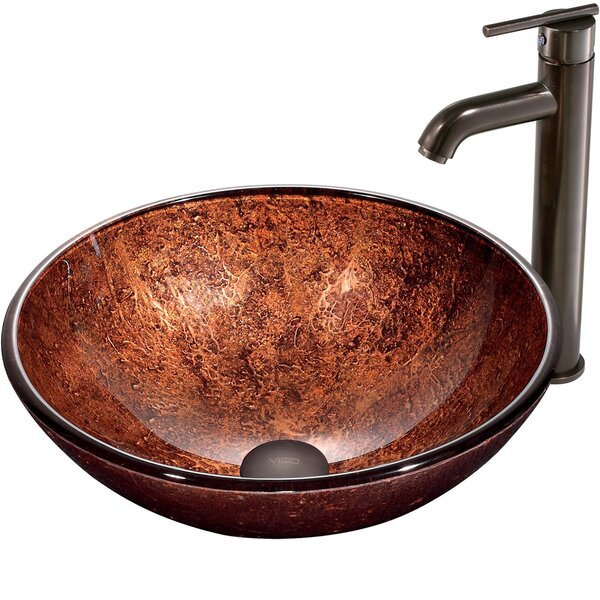 Glass Sink Glass Circular Vessel Bathroom Sink with Faucet by VIGO