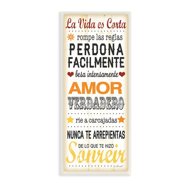 La Vida Es Corta Life is Short Typography Wall Plaque by Stupell Industries
