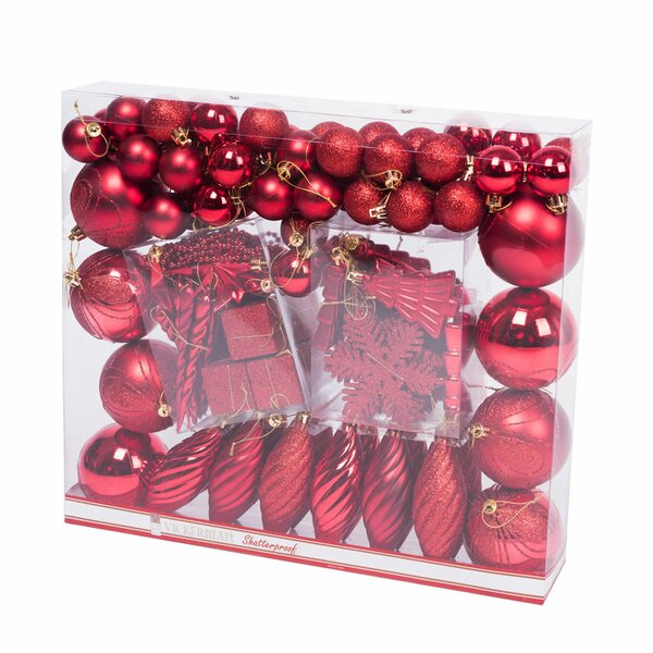 125 Piece Iridescent Christmas Ornament Set by The
