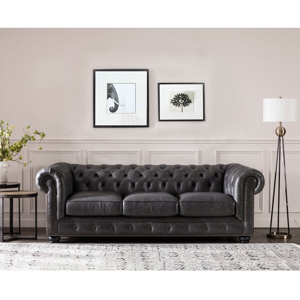New Collection Brinson Leather Chesterfield Sofa by Three Posts by Three Posts