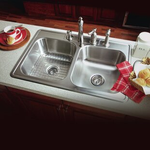 Medium image of glowtone ada compliant 33 x 22 topmount double bowl 18 gauge kitchen sink