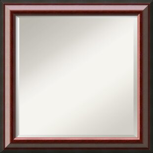 Darby Home Co Littell Square Mahogany Wood Wall Mirror