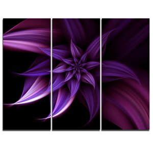 Fractal Flower Purple - 3 Piece Photographic Print on Wrapped Canvas Set by Design Art