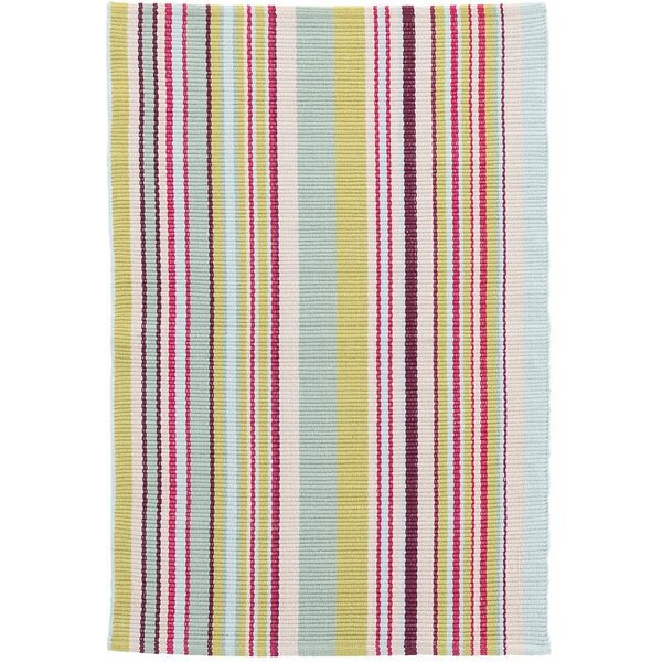 Joelle Stripe Hand-Woven Cotton Blue/Green Area Rug by Dash and Albert Rugs