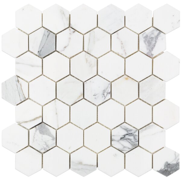 Hexagon 12 x 12 Marble Mosaic Tile in White/Gray by Splashback Tile