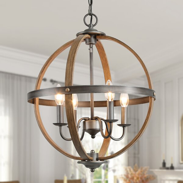 Halfdan 4 - Light Lantern Globe Chandelier by August Grove August Grove
