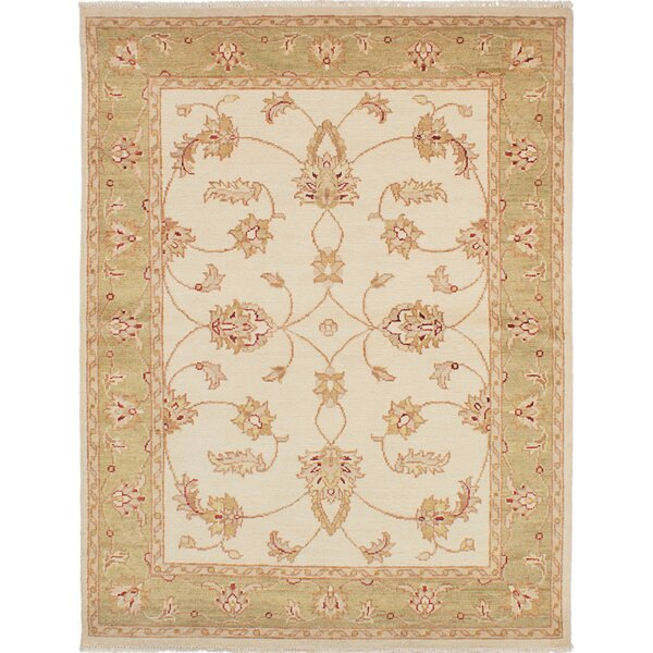 One-of-a-Kind Aideen Hand-Knotted Cream Area Rug by Isabelline