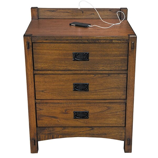 Castro 3 Drawer Nightstand by Loon Peak