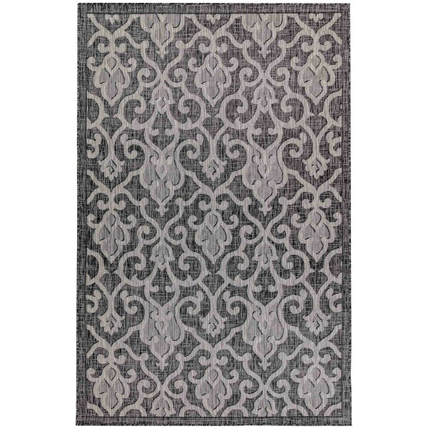 Arverne Baroque Gray Indoor/Outdoor Area Rug by Charlton Home