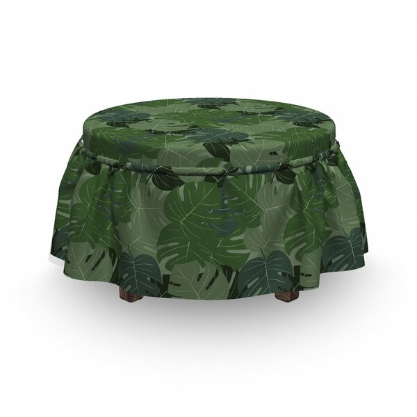 Forest Camo Palm Leaves 2 Piece Box Cushion Ottoman Slipcover Set By East Urban Home