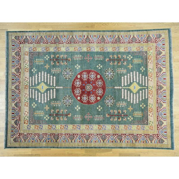 One-of-a-Kind Beauchemin Afghan Er With Design Hand-Knotted Green Wool Area Rug by Isabelline