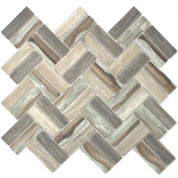 Recycle Herringbone Wooden Look 1 x 3 Glass Mosaic Tile in Brown by Multile