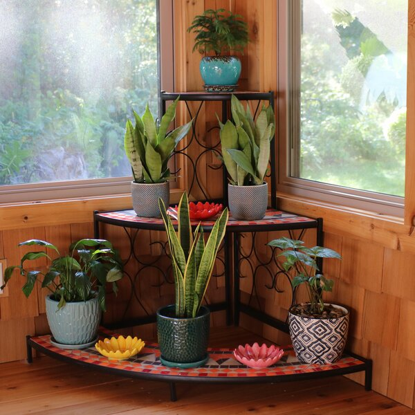 Manningtree 3-Tier Step Style Mosaic Tiled Indoor/Outdoor Corner Display Shelf Plant Stand by Fleur De Lis Living