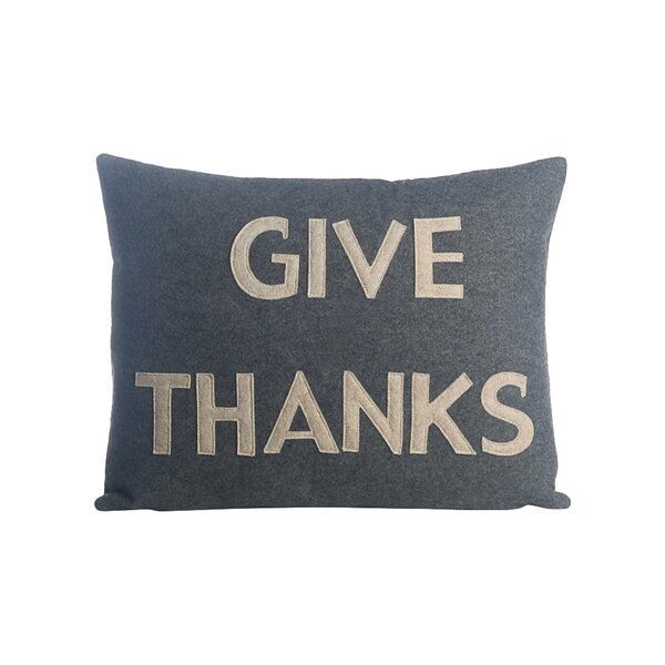 Give Thanks Lumbar Pillow by Alexandra Ferguson