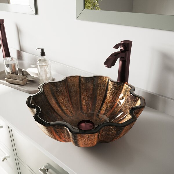 Brown Tempered Glass Circular Vessel with Faucet