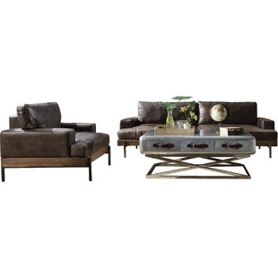 Pakswith 2 Piece Standard Leather Configurable Living Room Set by Greyleigh™