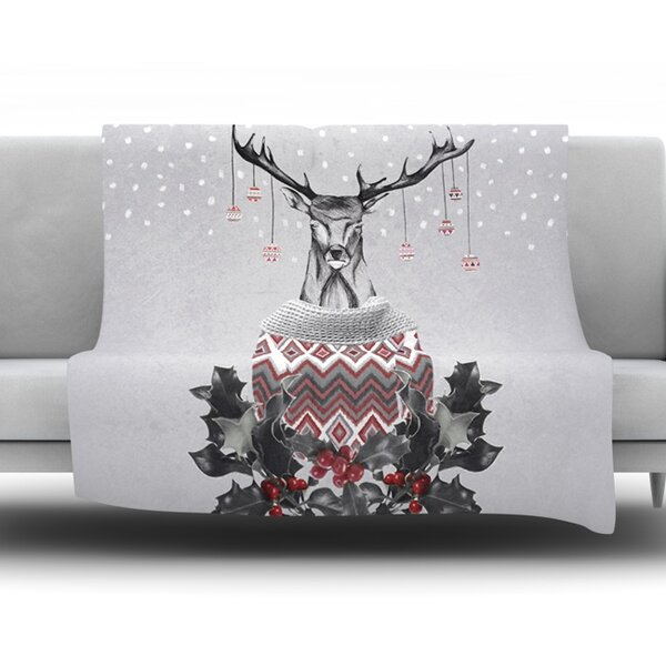 Christmas Deer Snow Fleece Throw Blanket by KESS InHouse