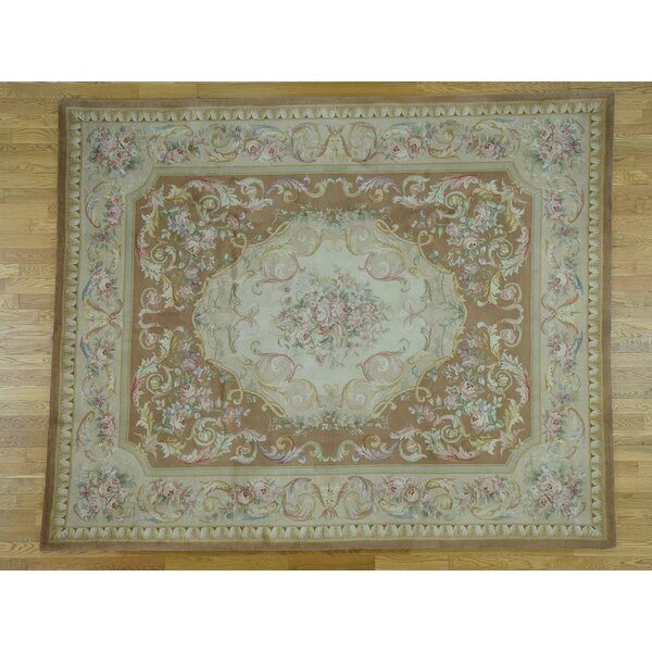 One-of-a-Kind Fulford Hand-Knotted Beige 12' x 18' Wool Area Rug