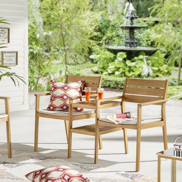 Aliya Jack and Jill Chair Patio Chair with Cushions by Rosecliff Heights