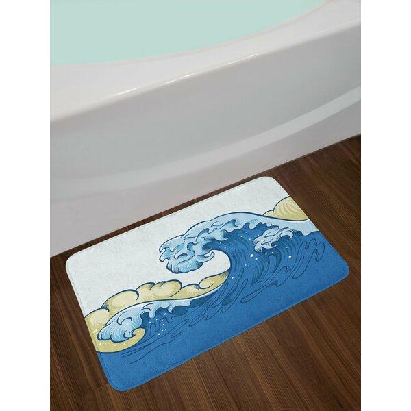 Cartoon Khaki Blue Pale Blue Japanese Wave Bath Rug by East Urban Home