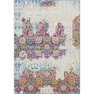 Downs Persian Distressed Vintage Purple/Cream Area Rug