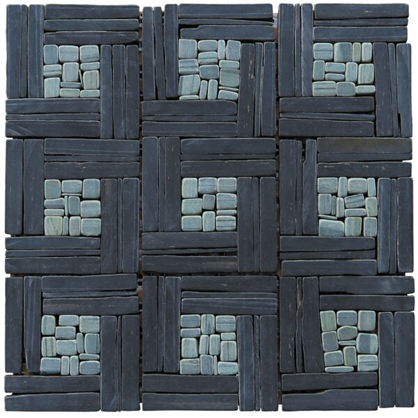 Landscape Wonder 12 x 12 Basketweave Natural Stone Blend Mosaic Tile in Black and Gray by Intrend Tile